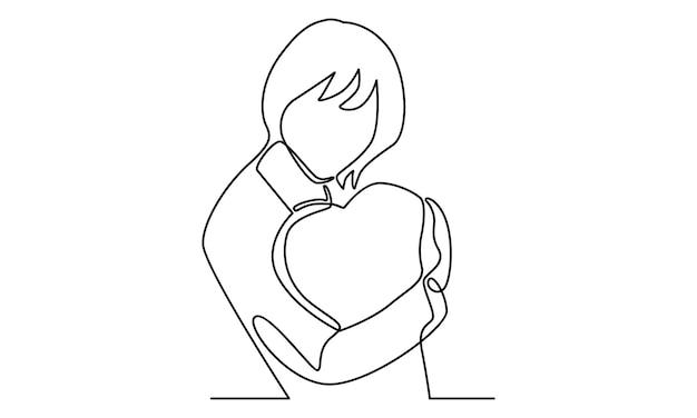 Ligne continue de fille tenant une illustration de signe d'amour