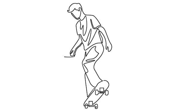 Ligne continue de garçon jouant l'illustration de la planche à roulettes