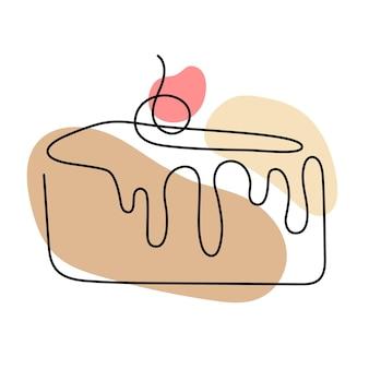 Une ligne continue de gâteau aux baies. style linéaire et logo dessiné à la main. concept de café et boulangerie. illustration vectorielle isolée sur fond blanc.