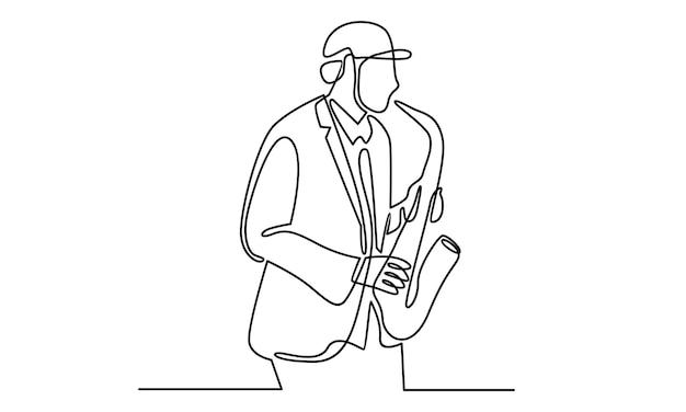 Ligne continue d'homme jouant de l'illustration du saxophone