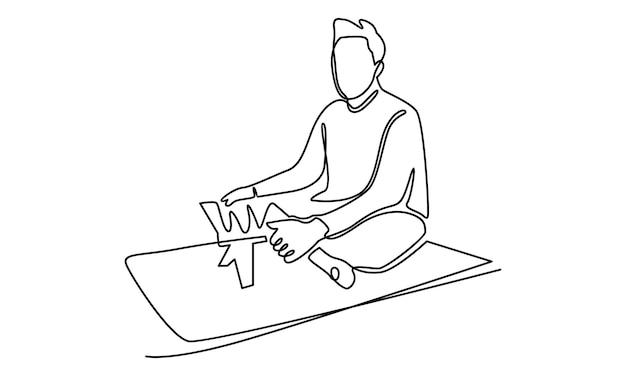 Ligne continue d'homme musulman lisant l'illustration du saint coran