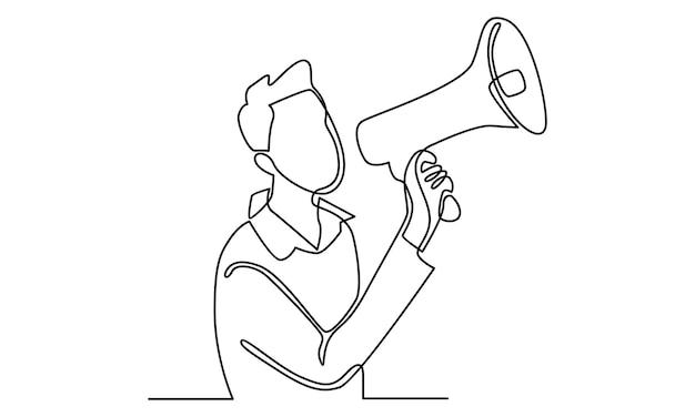 Ligne continue d'homme parlant dans l'illustration du mégaphone