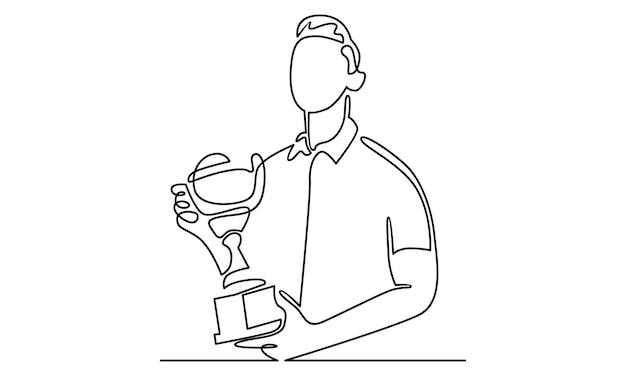 Ligne continue d'homme tenant une illustration de coupe de trophée
