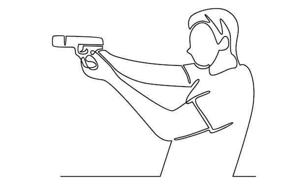 Ligne continue d'homme tenant l'illustration du pistolet