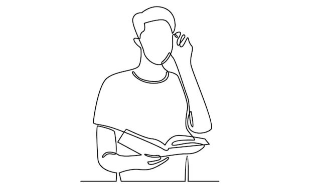 Ligne continue d'homme tenant une illustration de livres