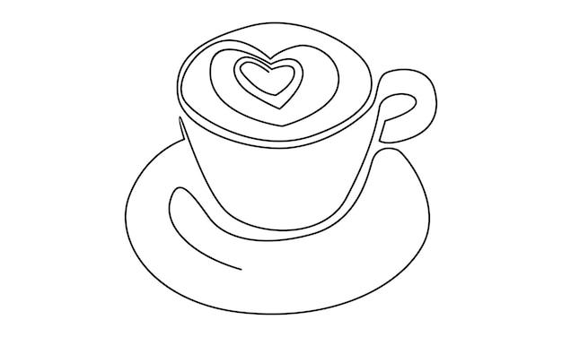 Ligne continue d'illustration de café au lait