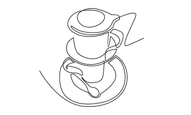 Ligne continue d'illustration de café vietnamien