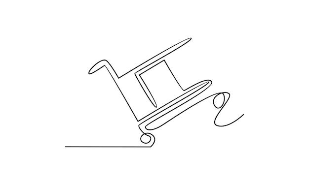 Ligne continue d'illustration de chariot