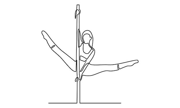 Ligne continue d'illustration de danseuse de pôle femme