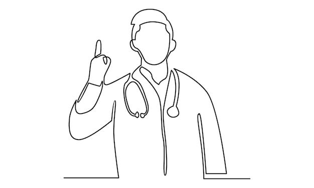Ligne continue d'illustration de docteur