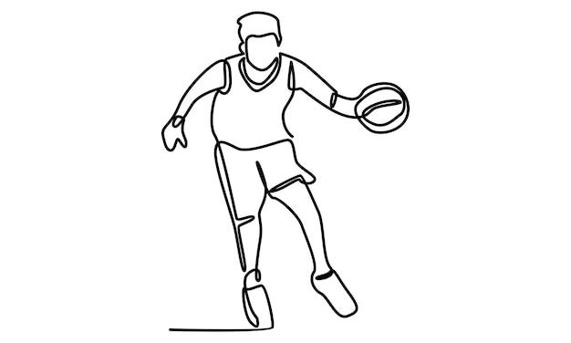 Ligne continue d'illustration de joueur de basket-ball