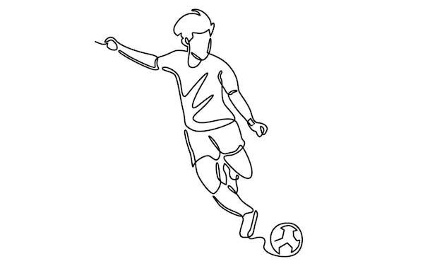 Ligne continue d'illustration de joueur de football