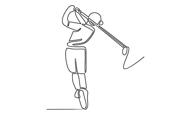 Ligne continue d'illustration de joueur de golf
