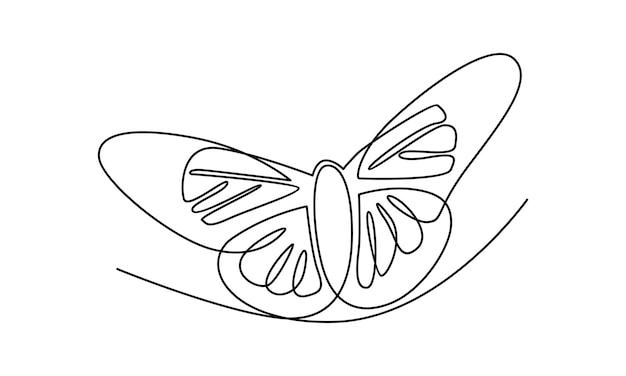 Ligne continue d'illustration papillon