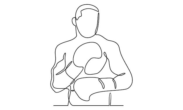 Ligne continue d'illustration de personnage de boxe