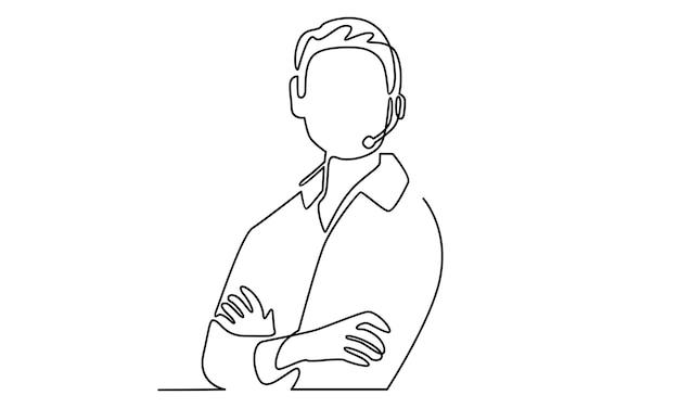 Ligne continue d'illustration de support d'opérateur de service client de l'homme