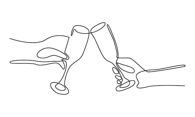 Ligne continue de main tenant une illustration de verre à vin