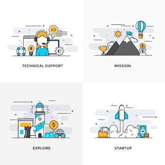 La ligne de couleur plate moderne a conçu des icônes de concepts pour le support technique, la mission, l'exploration et le démarrage.