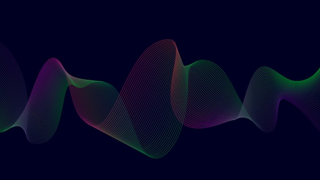 Ligne de courbe abstraite colorée sur noir