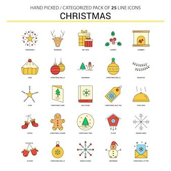 Ligne d'icônes de Noël ligne plate