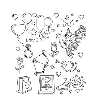 Ligne définie pour la saint valentin et autres événements romantiques. je t'aime. colombe, arc et flèche de cupidon, coeurs, fleurs, roses, bague en diamant. illustration