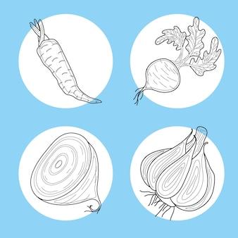 Une ligne définit quatre aliments