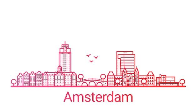Ligne de dégradé de couleur de la ville d'amsterdam
