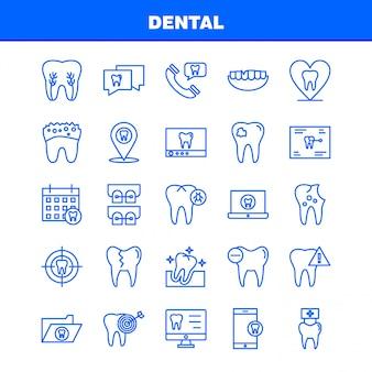 Ligne dentaire set d'icônes pour infographie, kit mobile ux / ui