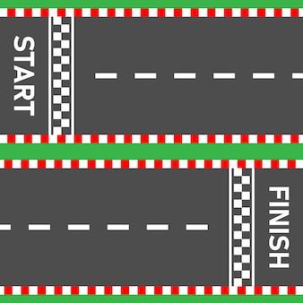 Ligne de départ ligne d'arrivée route de course route asphaltée vue de dessus