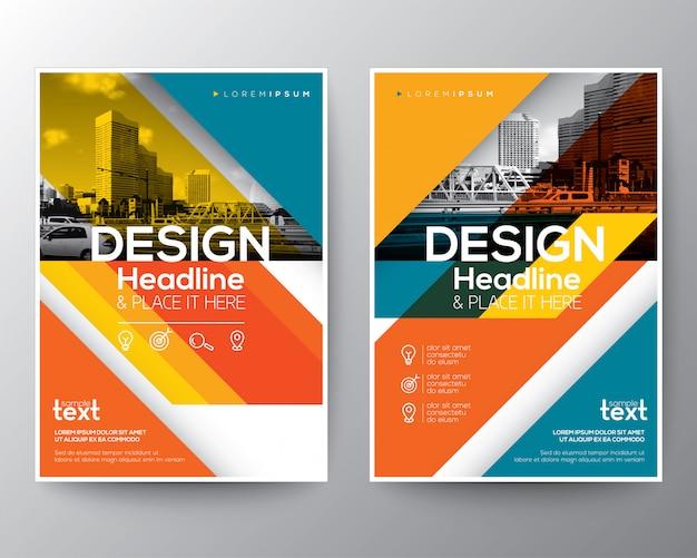 Ligne diagonale rouge et orange couverture de rapport annuel brochure