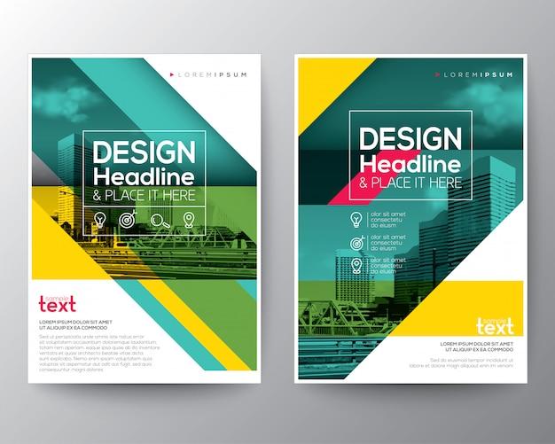 Ligne diagonale verte brochure rapport annuel couverture