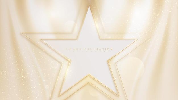 Ligne dorée en forme d'étoile sur l'éclat de la scène de la toile de luxe, concept d'arrière-plan de nomination aux prix en couleur crème pastel, illustration vectorielle sur le modèle moderne de conception de sentiment doux et lisse.