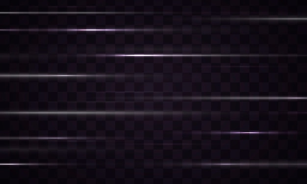 Ligne d'effet de lumière striée isolée sur fond noir