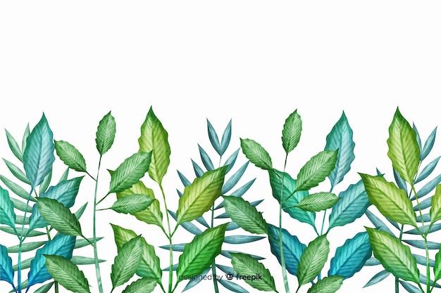 Ligne de feuilles vertes dessinées à la main