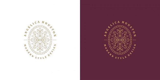 Ligne de fleur et branche avec des feuilles vector logo emblème modèle de conception illustration simple style linéaire