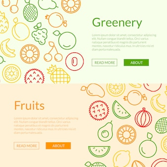 Ligne fruits icônes web bannière illustration de modèles