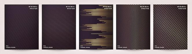 Ligne géométrique abstraite fond sertie de style design or.