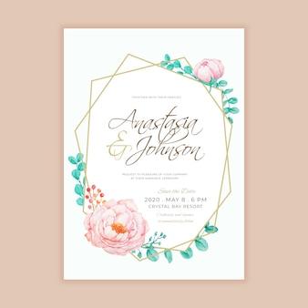 Ligne géométrique avec modèle d'invitation de mariage floral aquarelle