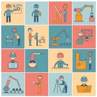Ligne d'icônes d'ingénierie ligne plate
