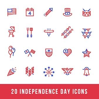 Ligne d'icônes de jour de l'indépendance américaine rouge et bleu