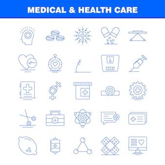Ligne d'icônes de ligne médicale et de soins de santé