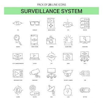 Ligne d'icônes de surveillance - 25 styles de contour en pointillés
