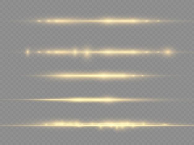 Ligne jaune lueur, faisceaux laser, éblouissement or brillant, belle lumière parasite, rayons lumineux horizontaux