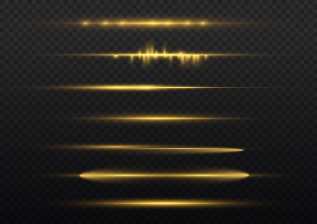 Ligne jaune luminescente, faisceaux laser, reflets dorés brillants