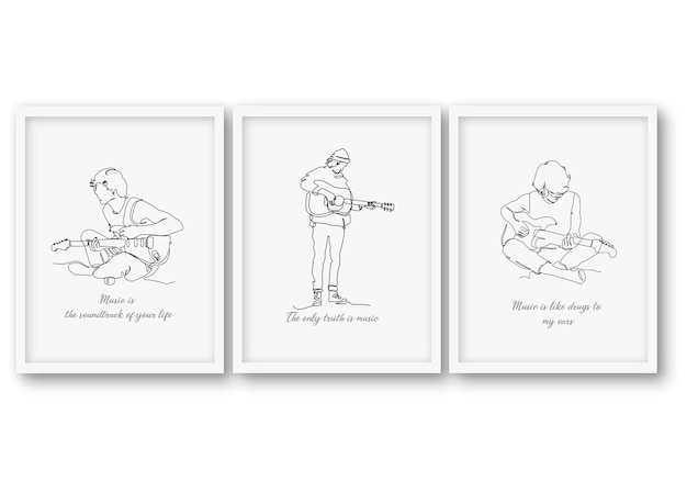 Une ligne jouant l'illustration de l'homme de guitare sur un cadre minimal