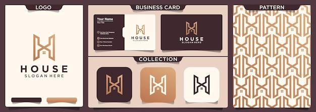 Ligne de lettre avec création de logo de maison