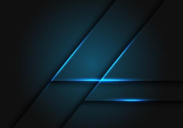 Ligne de lumière bleue sur fond géométrique gris foncé.