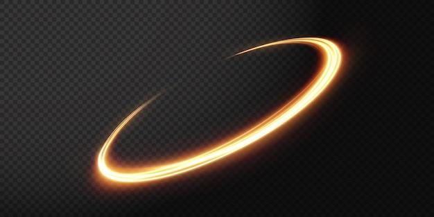 Ligne de lumière ondulée dorée lumineuse sur fond transparent lumière électrique dorée png