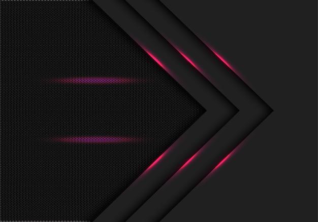 Ligne de lumière rose flèche fond noir maille hexagonale.