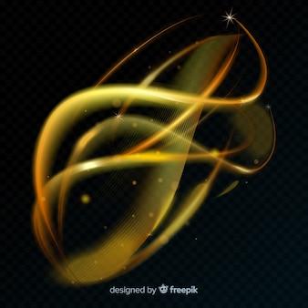 Ligne de lumière spirale rougeoyante dorée